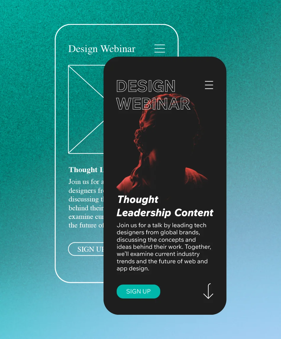 UX writing in a mobile website for a design webinar