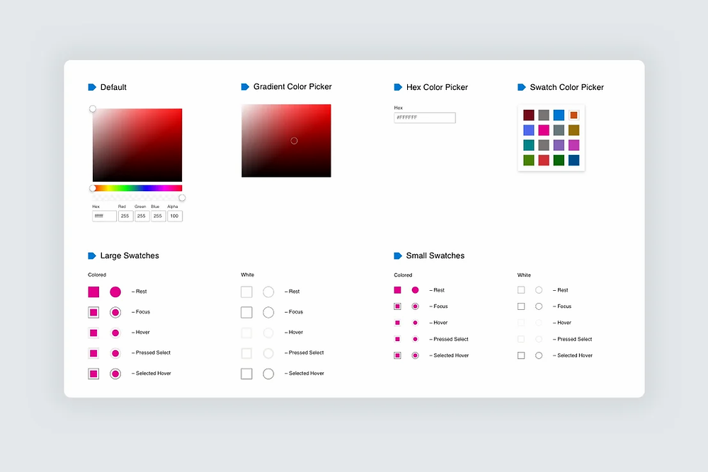 A screenshot of color pickers on the Microsoft Fluent Design System