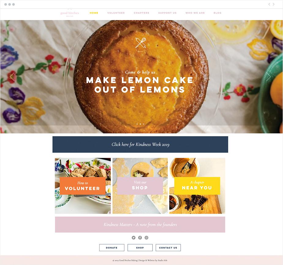 Good Bitches Baking nonprofit website