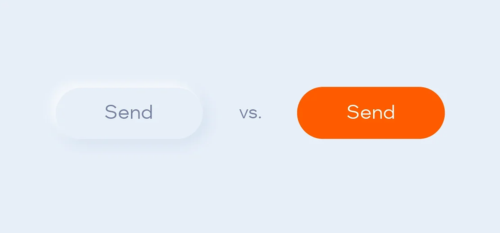 A send button in both neumorphism and regular design styles