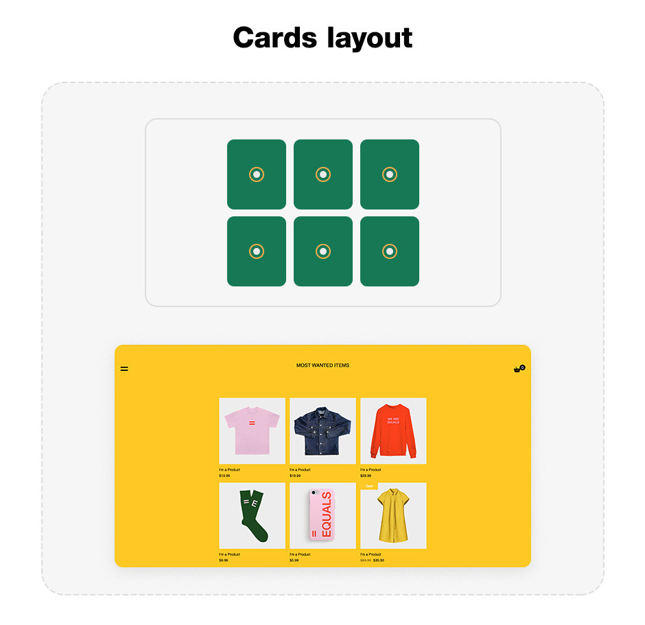 Cards website layout template