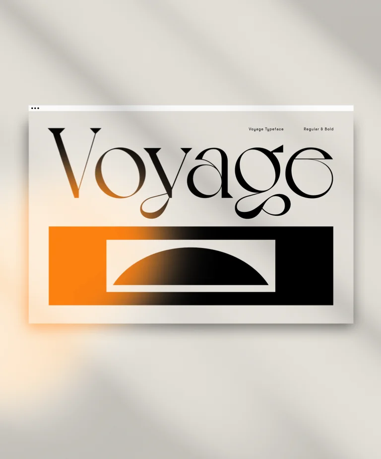 A web browser with the curvy Voyage font by VJ Type