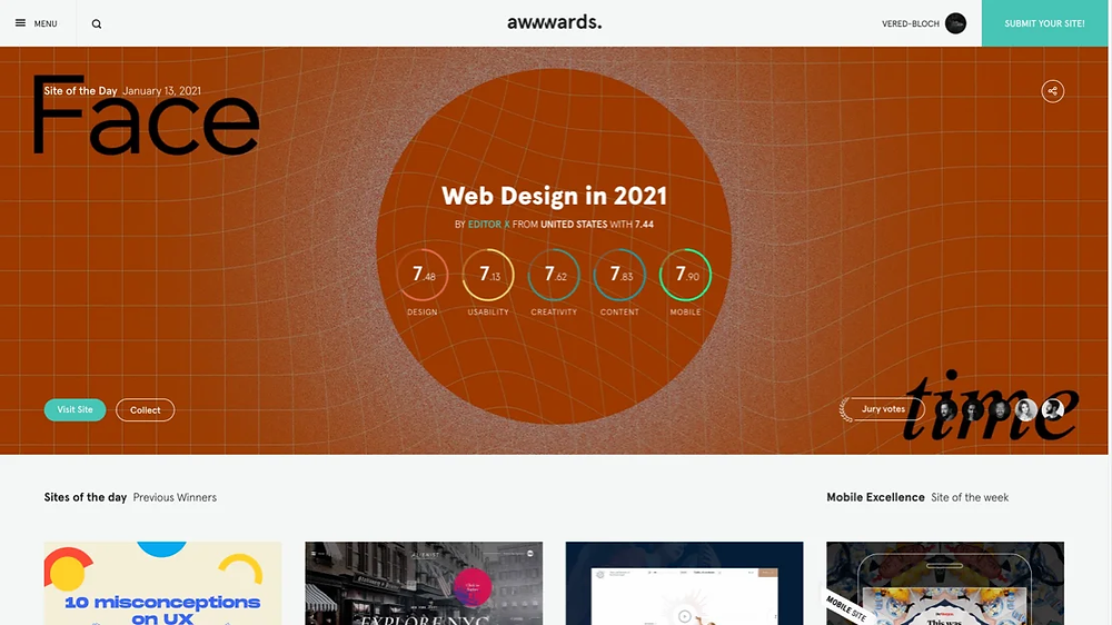 A screenshot of Editor X's Web Design Trends Report on the Awwwards homepage