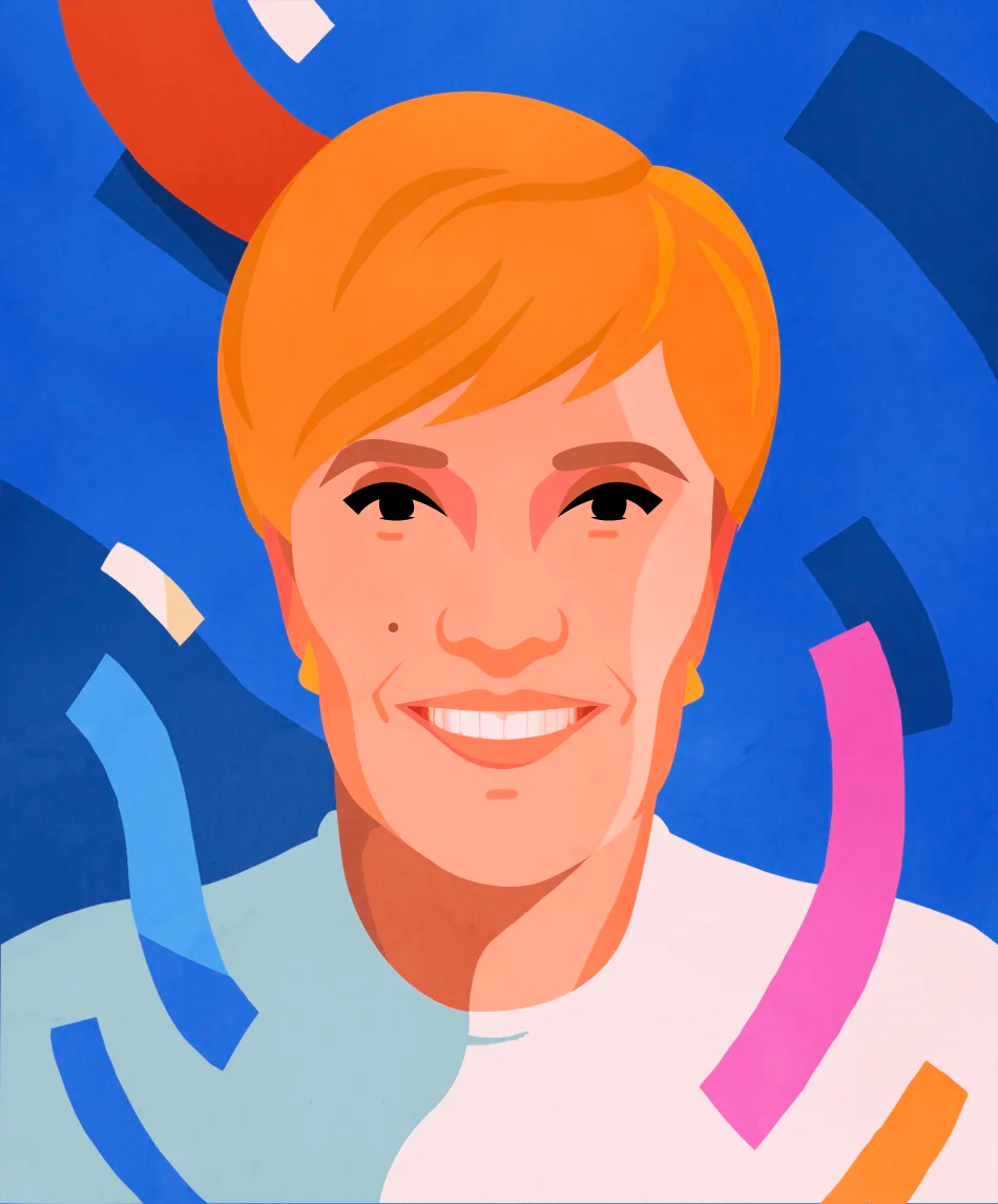 An illustrated portrait of Marina Willer by Petra Eriksson