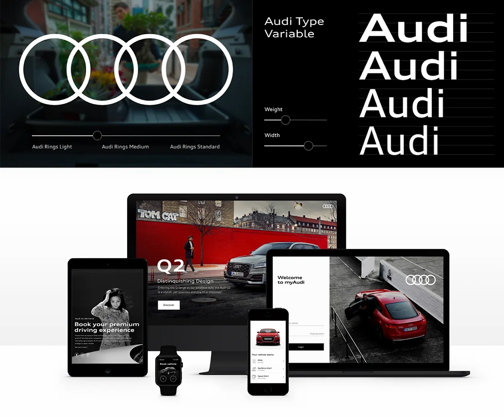 The Audi logo, typography and digital presence from their design system