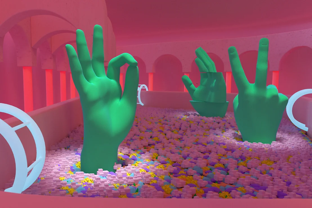 3D visual of green hands inside a ball pond by Daniel Aristizabal for the Museum of Ice Cream