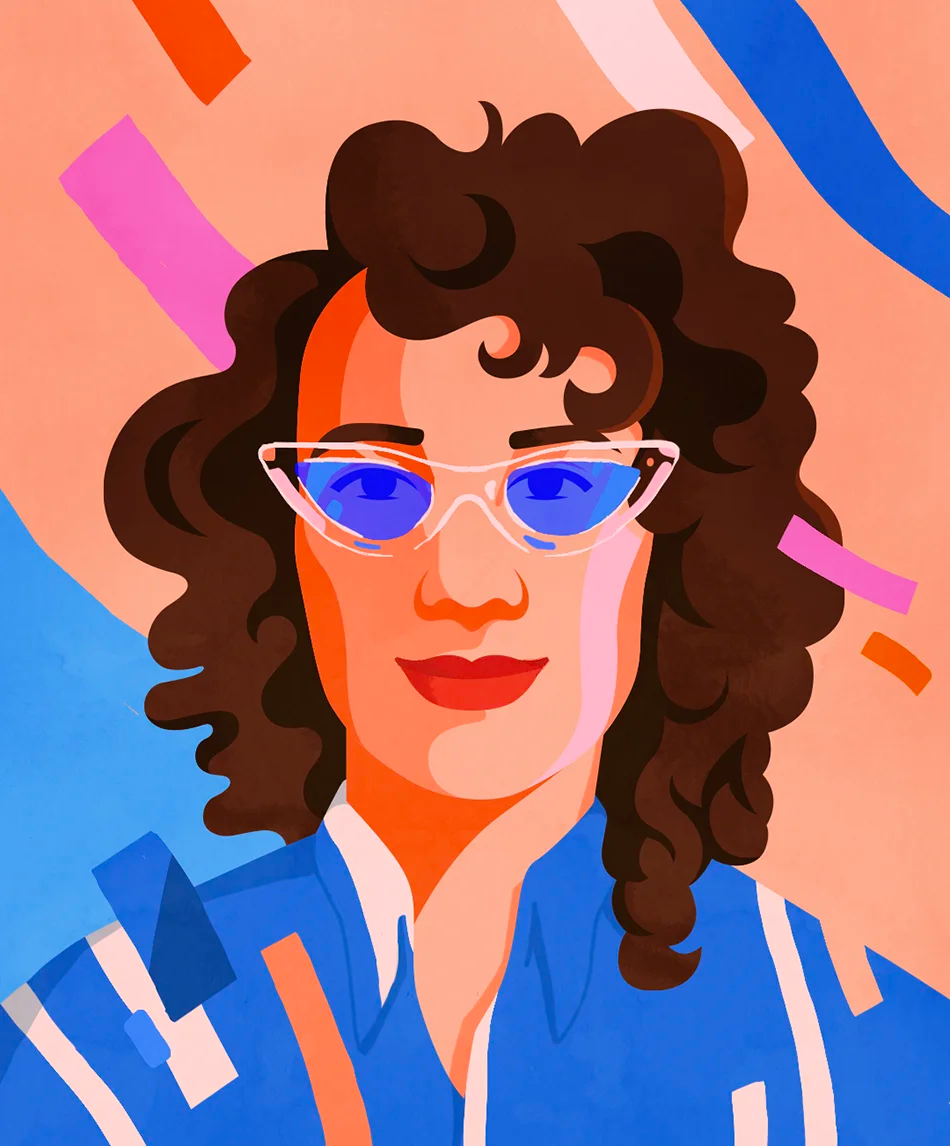 An illustrated portrait of Carly Ayres by Petra Eriksson