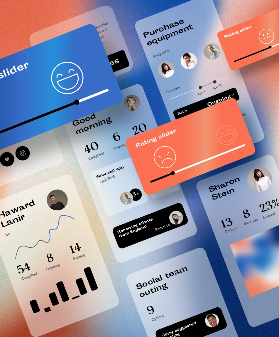A graphic illustration of UX/UI elements floating in space