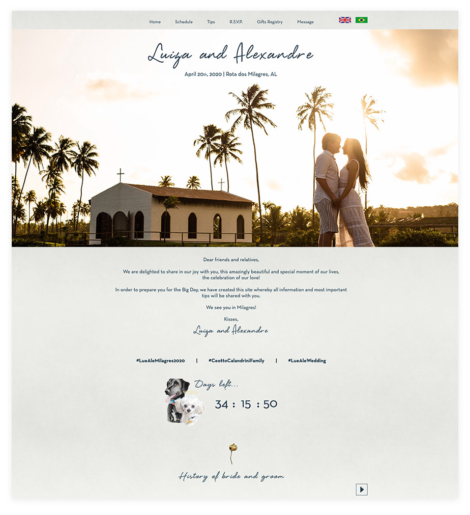 Luiza & Alexandre wedding website example