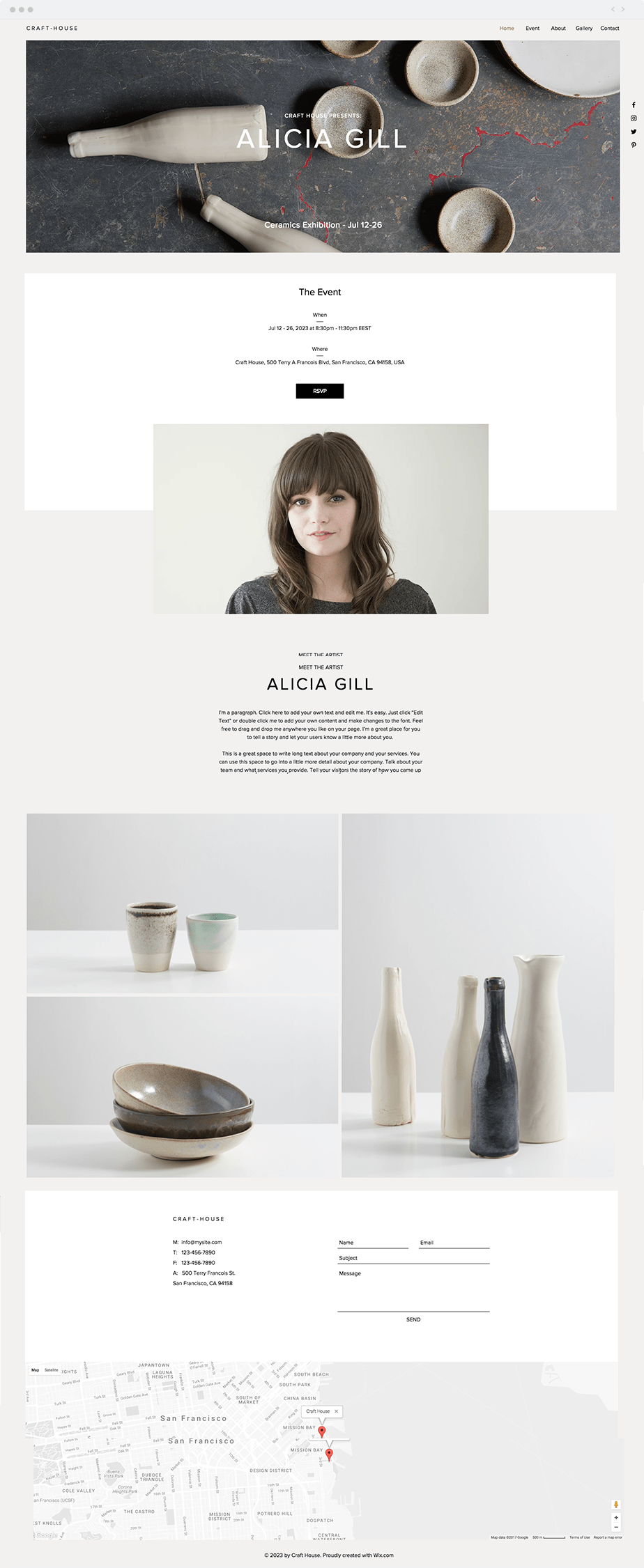 Wix Template - Gallery Event
