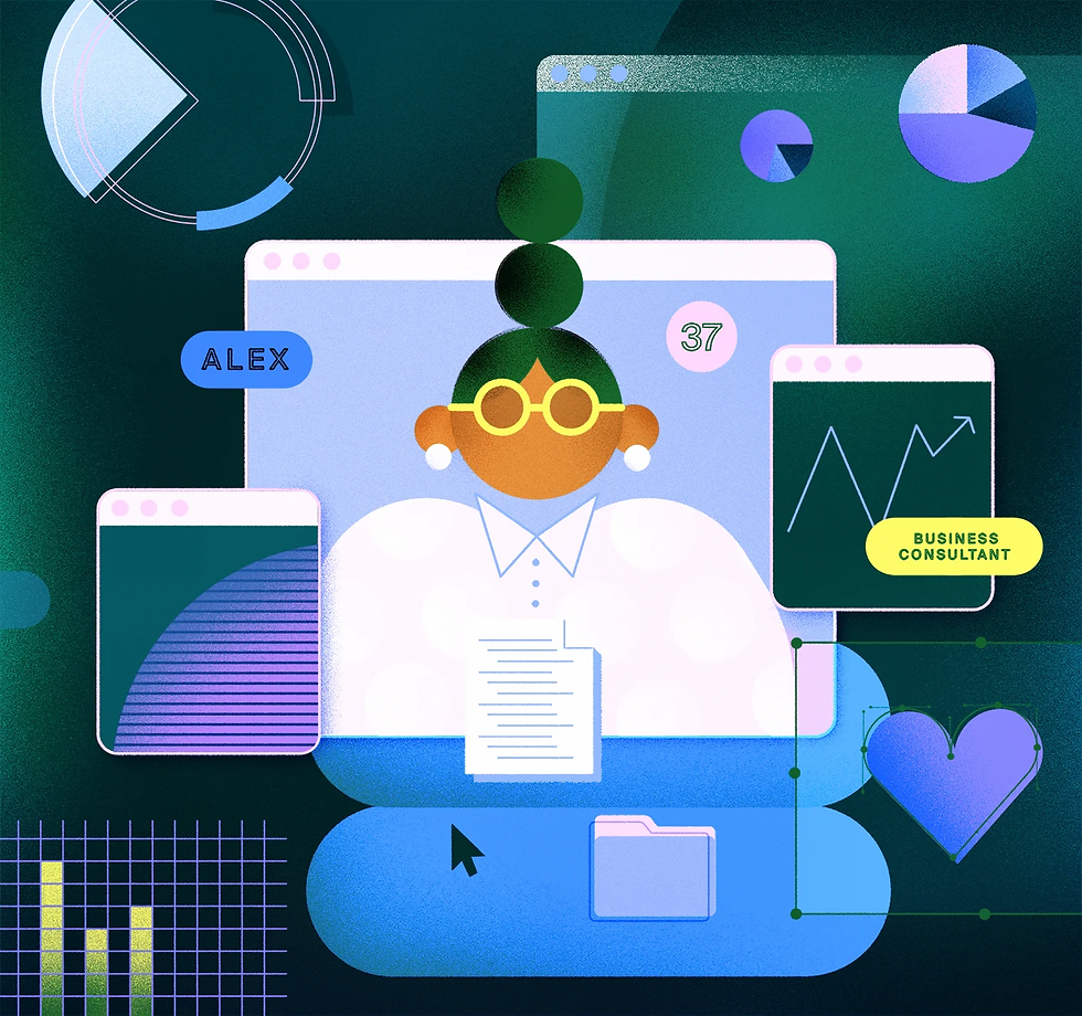An illustration of a user persona showing a human figure that's made up of data, research and various findings