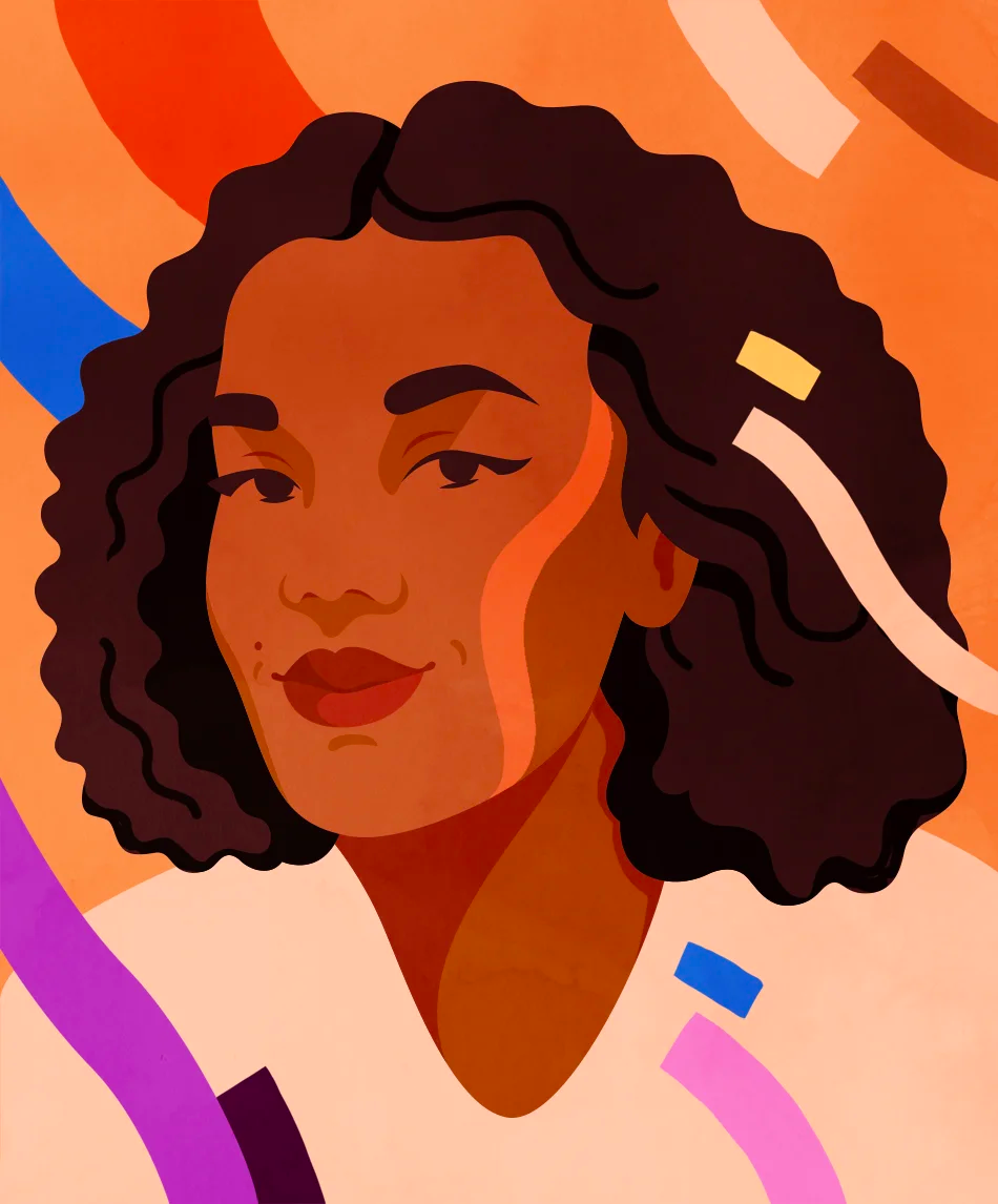 An illustrated portrait of Chelsea Alexander by Petra Eriksson