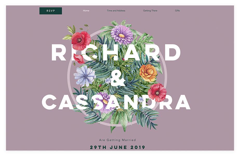 Richard & Cassandra wedding website example