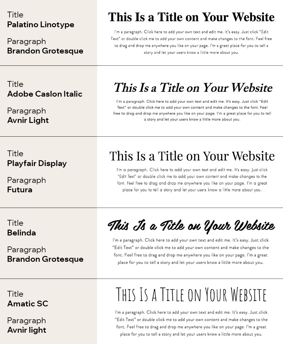 Font combinations for your website