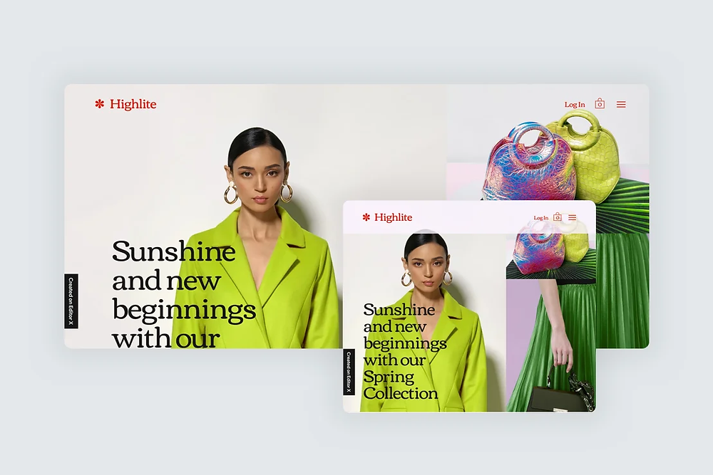 A website template for a fashion site shown on both desktop and mobile