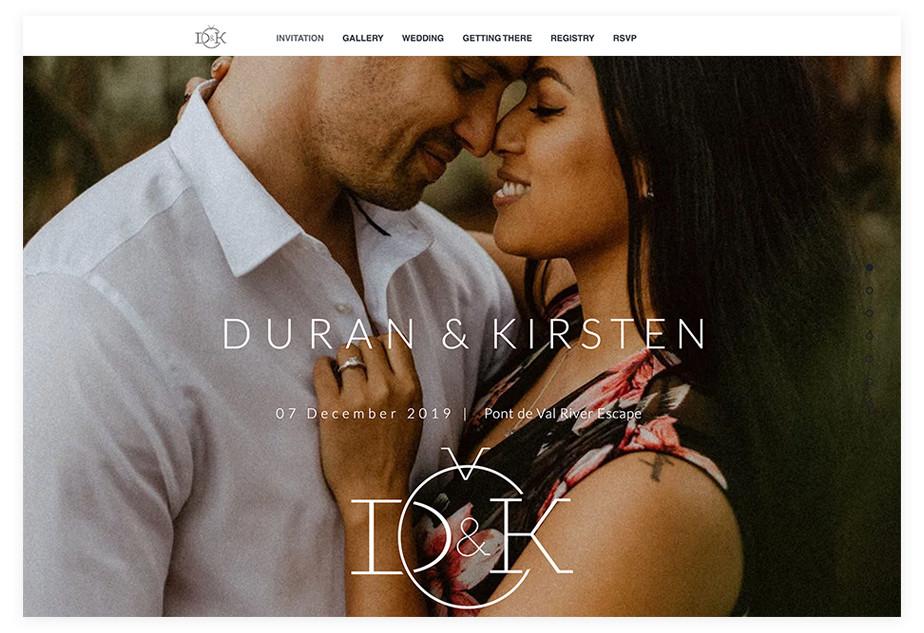 Duran & Kirsten wedding website example