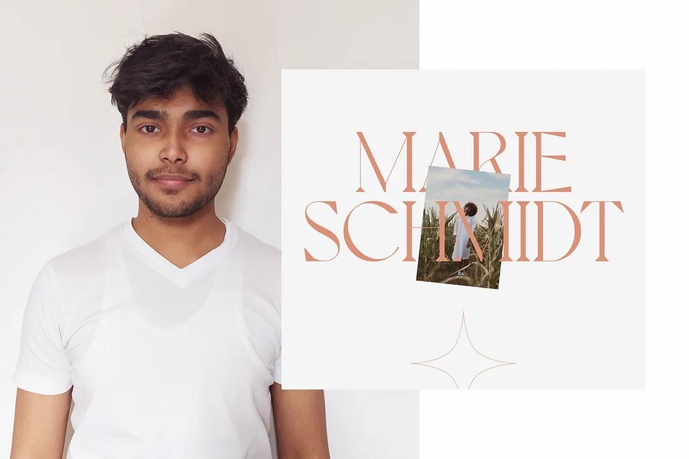 A photo of designer Abhishek Jha and a website screenshot