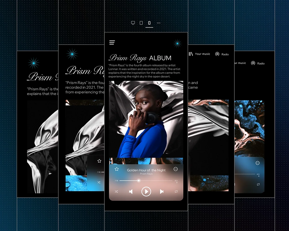 A responsive web design with an image of a woman holding heaphones shown on a variety of different screen sizes