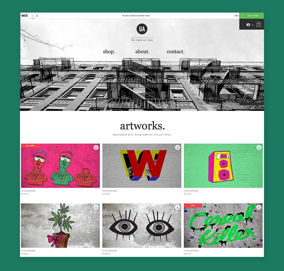 Wix sell art online