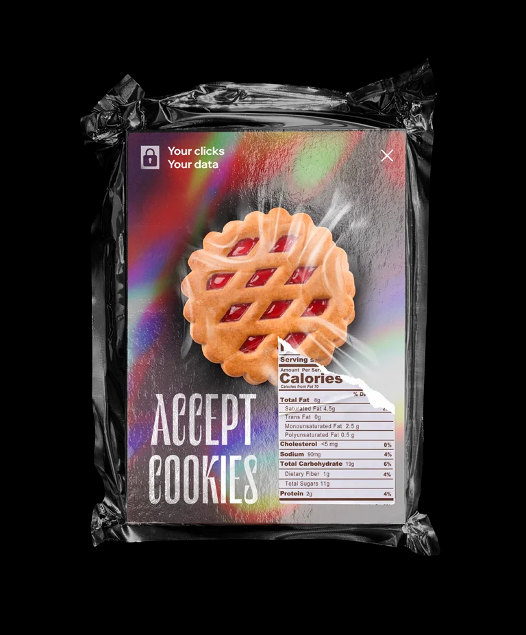 """A 3D illustration of a plastic bag with a card that reads """"Accept Cookies"""" and an image of a large cookie, plus a nutrition facts label"""