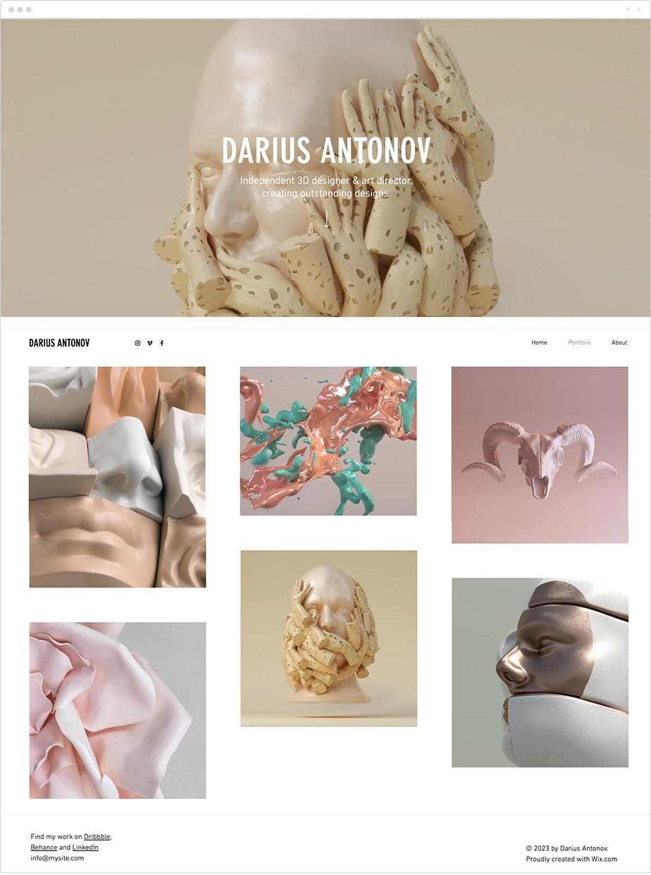 3D artist portfolio template