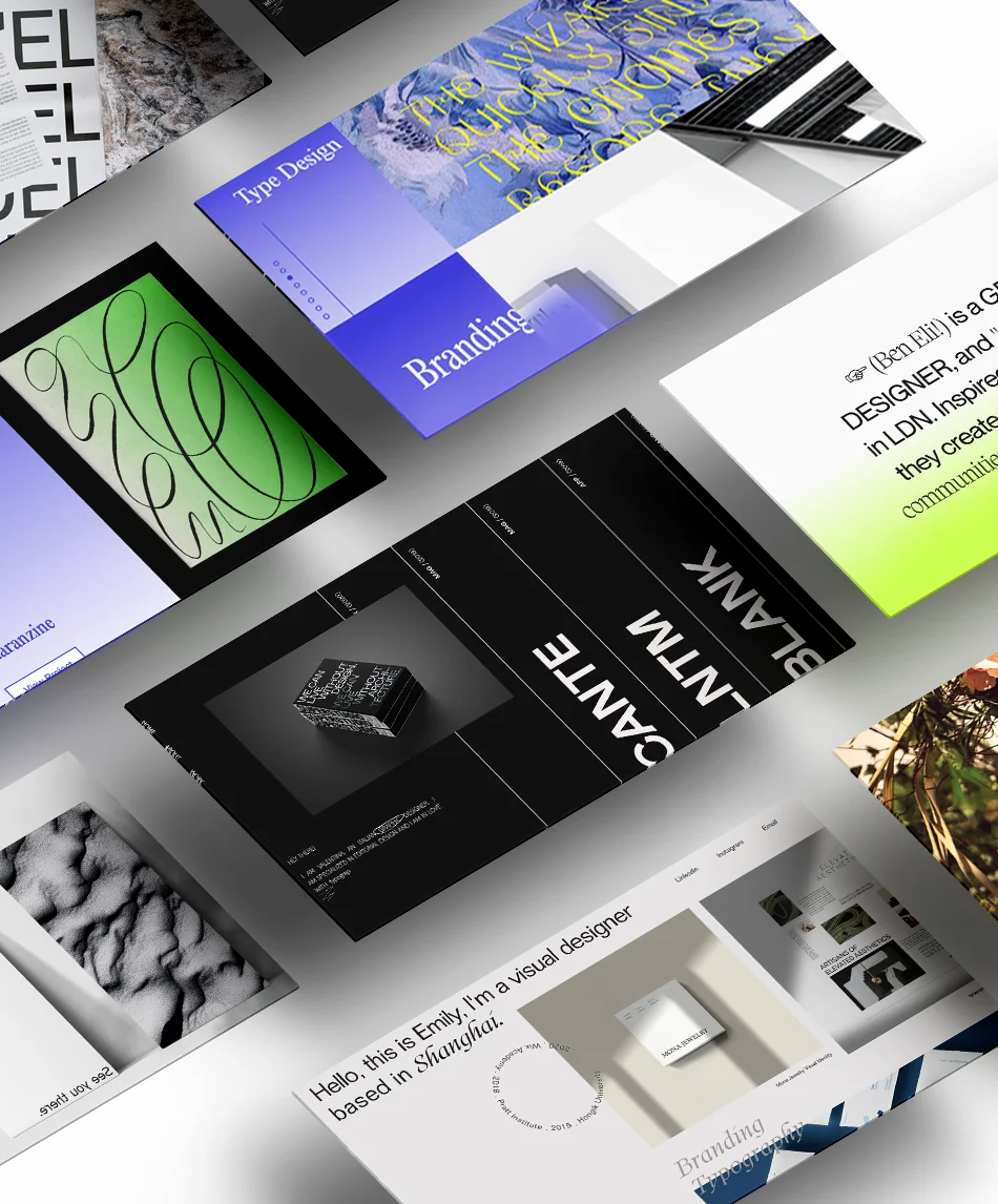 A collection of graphic design portfolios displayed in an isometric layout