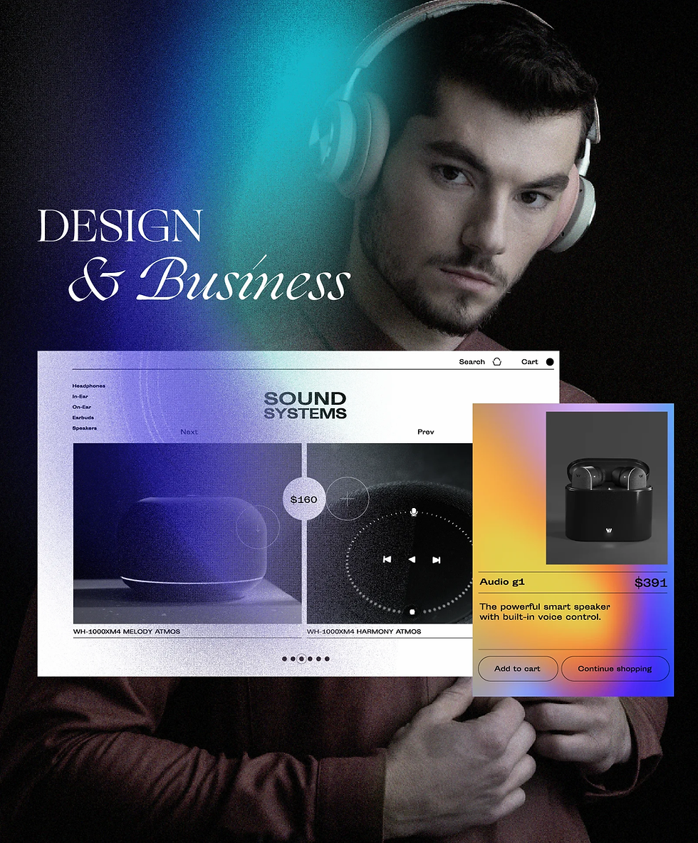 """An eCommerce website design selling sound equipment, and typography reading """"Design & Business"""""""