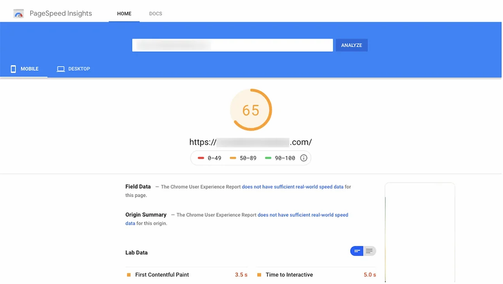 A screenshot from Google PageSpeed Insights showing a score of 65.