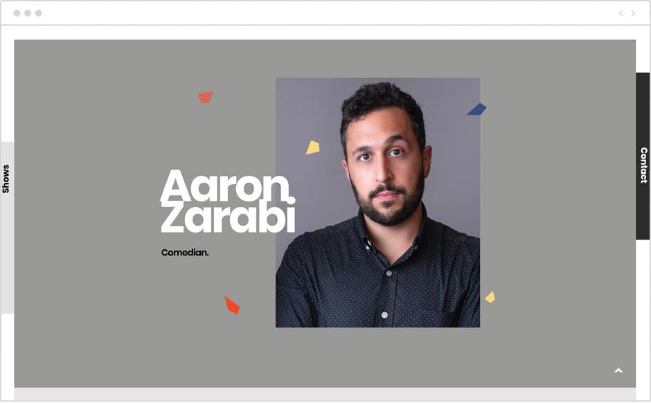 Aaron Zarabi personal website example