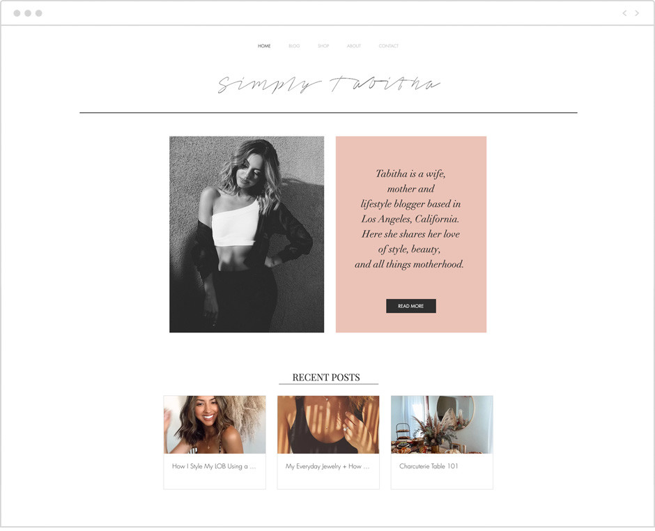 Simply Tabitha personal website example