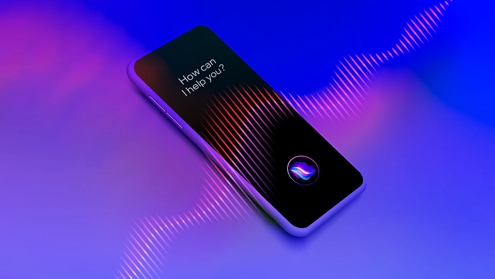 """A 3D visualization of a voice UI interface, reading """"How can I help you?"""""""