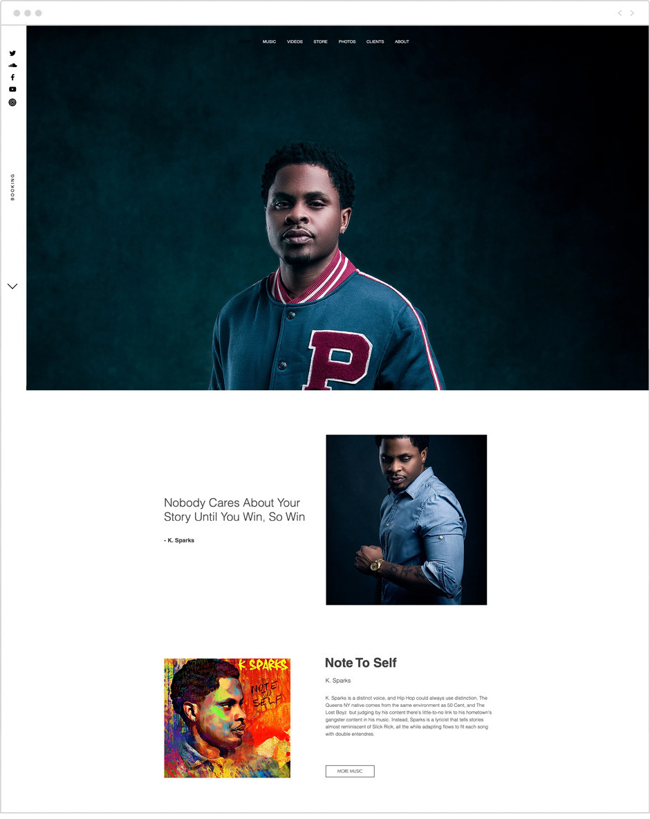 K. Sparks personal website example