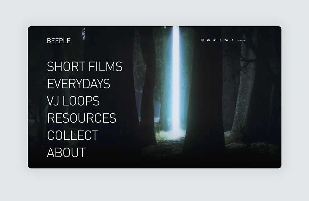 A website screenshot of Beeple's design portfolio