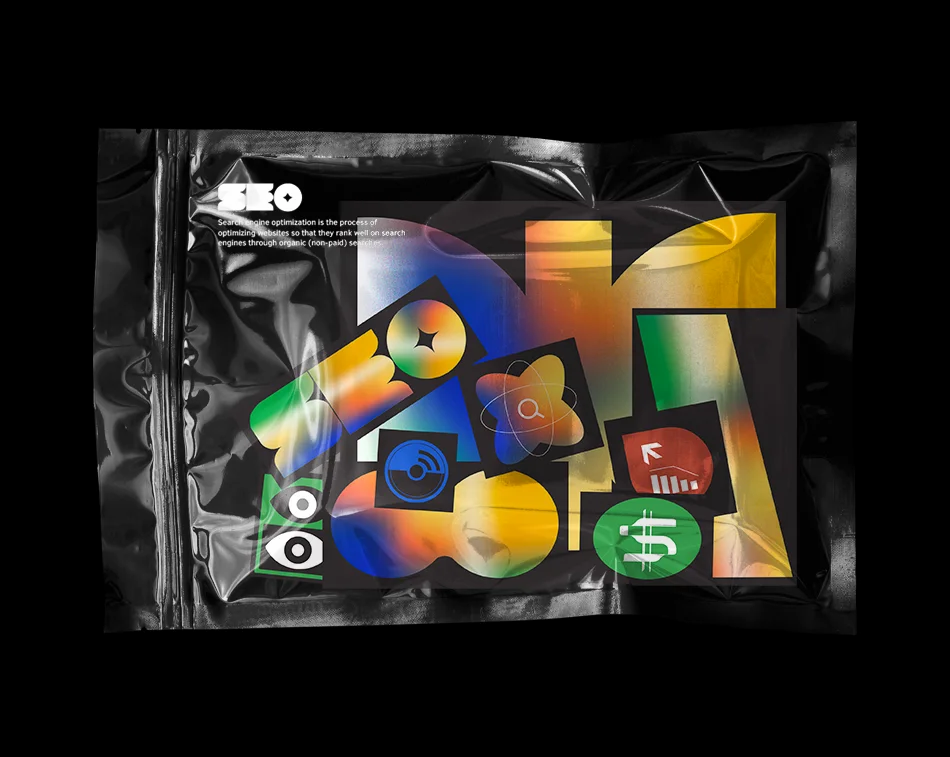 A plastic bag with different stickers and items relating to the field of SEO
