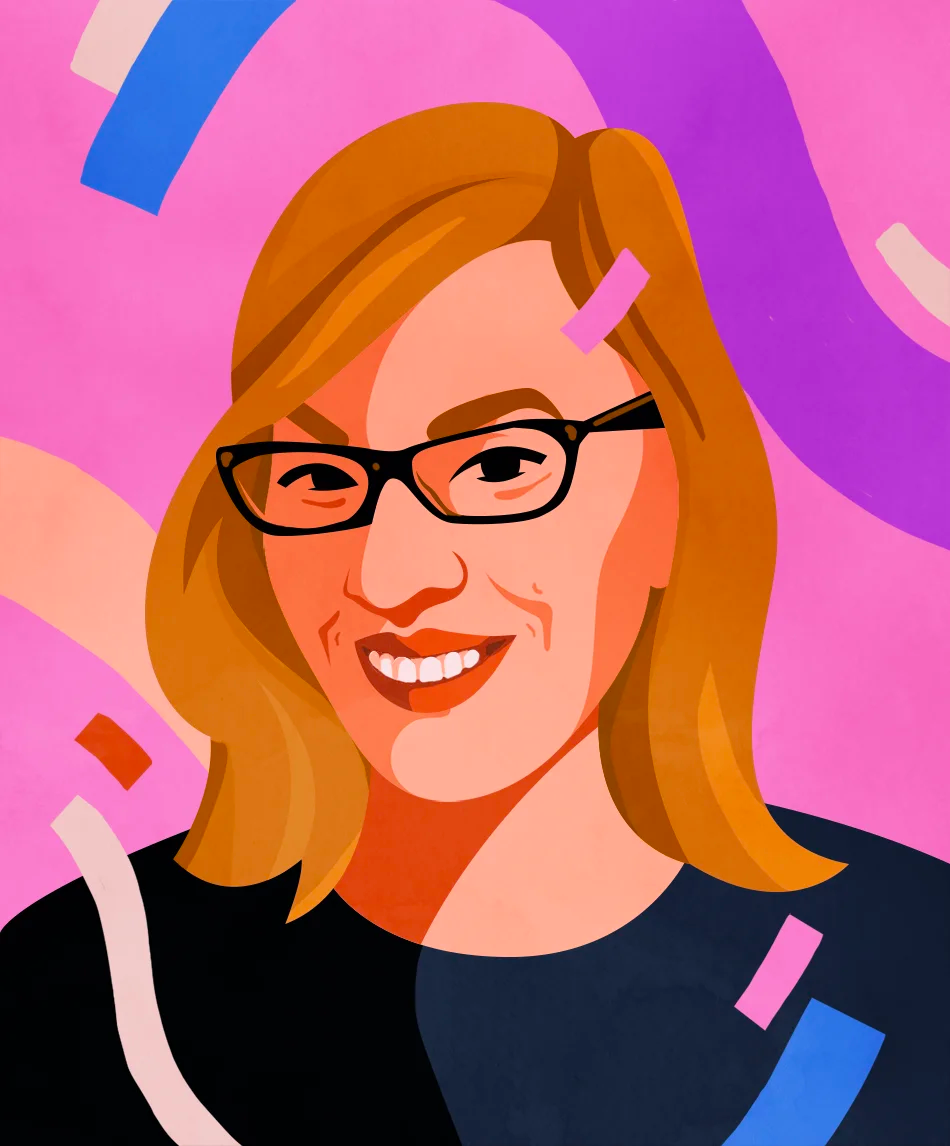 An illustrated portrait of Debbie Millman by Petra Eriksson