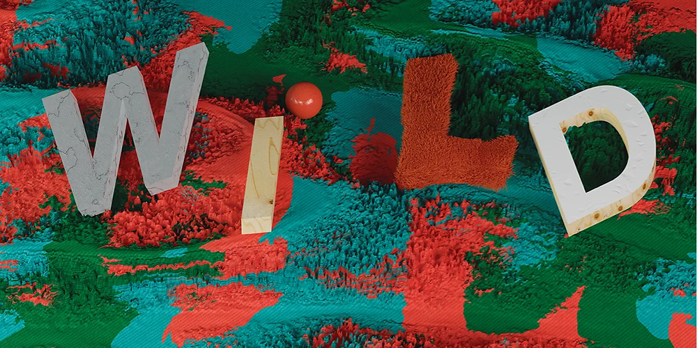 3D text spelling 'Wild' on a colorful textured fabric