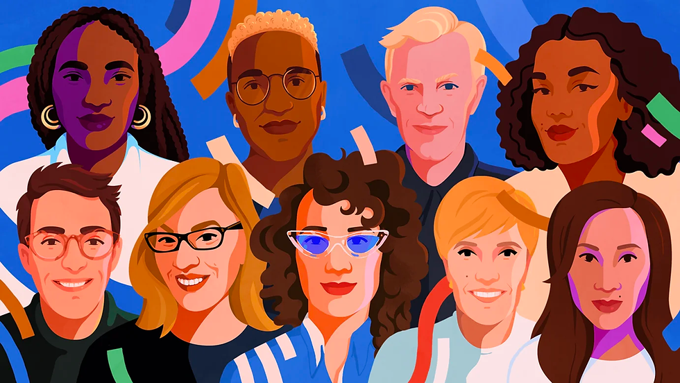 An illustrated group portrait of 9 smiling designers by Petra Eriksson