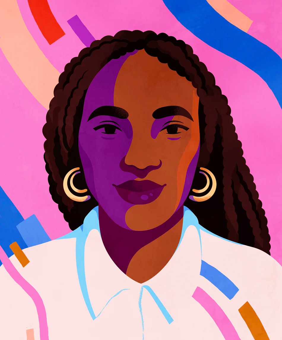 An illustrated portrait of Mitzi Okou by Petra Eriksson