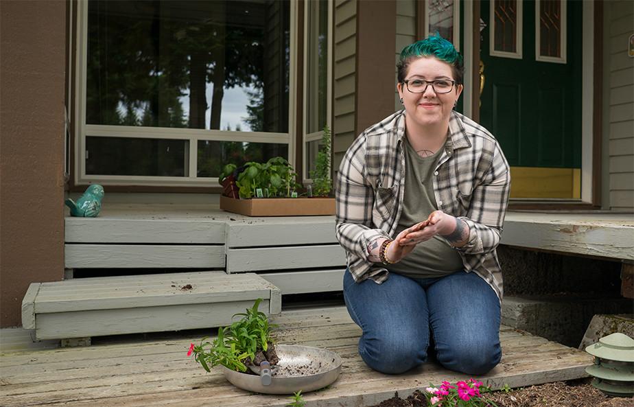 A Non-Binary Person Gardening