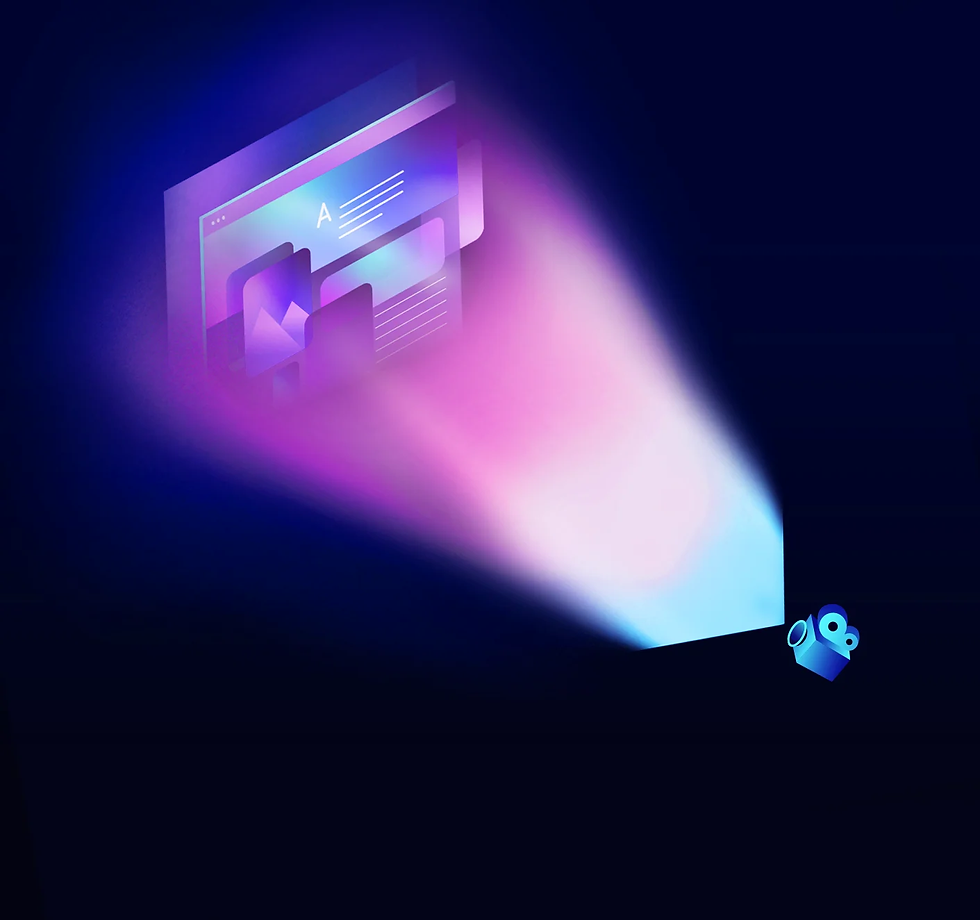 An illustration of a cinema camera projecting a ray of light, showing a digital interface with multiple screen