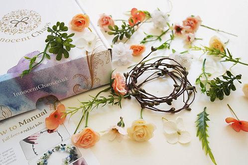 Peach flower crown kit