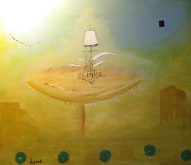 """Le bateau fantôme"" (Guido Legrand, acryl op doek)"