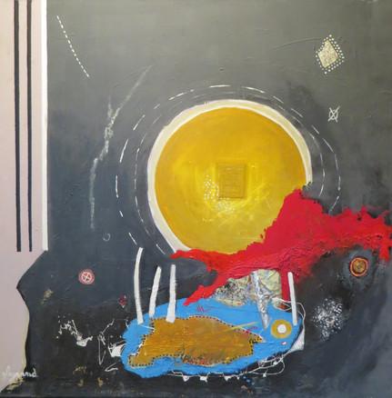 """""""Nulpuntgedachte"""" (Guido Legrand, acryl/collage op doek)"""