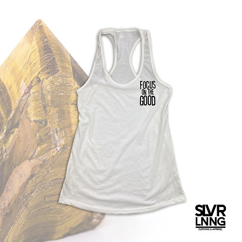 Focus on the Good   Tigers Eye infused ink   Racerback tank top   Real Citrine