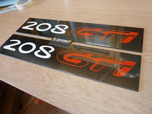 CACHES PLAQUES 208 GTI BASE ( LA PAIRE )