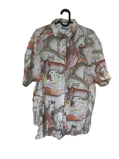Beige Bluse mit Vintage-Muster