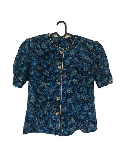 Blaue Jacke mit goldenem Blumendruck