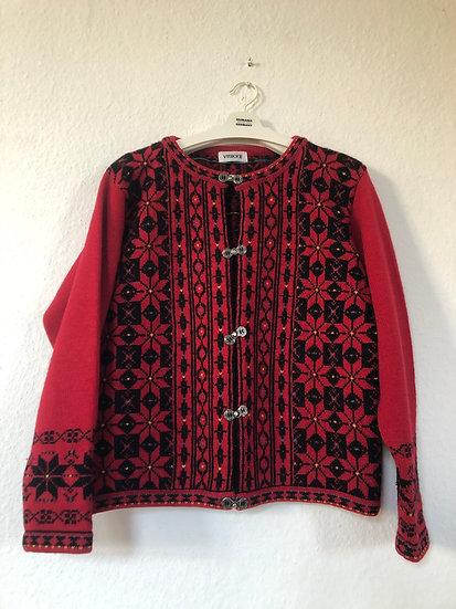 "Rote Norwegerjacke ""Vrikke""  mit schwarzem Muster"
