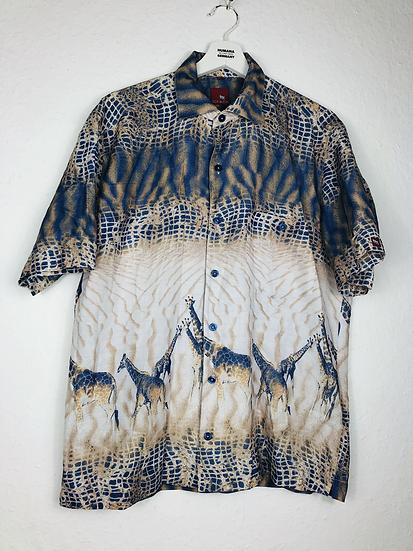 """Giraffen"". Hemd blau, beige, braun"