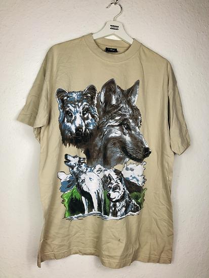 Beige T-Shirt mit Wolfenmotiv